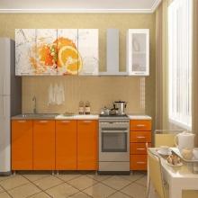 """Кухня """"Апельсин"""" с фотопечатью."""