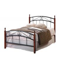 Кровать металлическая+дерево 8077