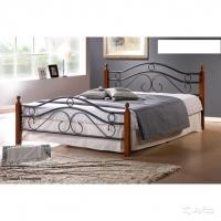 Кровать металлическая+дерево 803
