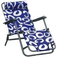 Кресло шезлонг складное сине-белое ТХ